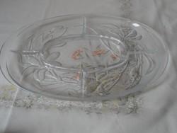 Olasz osztott üveg tál, kínáló ( Liliomos)