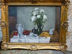 Eladó Bánovszky Miklós: Virágcsendélet című olajvászon, Képcsarnokos festménye