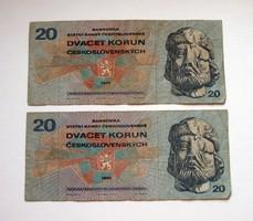 """CSEHSZLOVÁKIA - 2 db -10 Korun - 1970 - """"L"""" széria"""