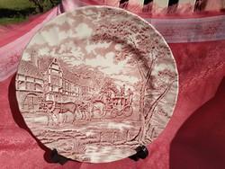 Nagy lapos angol jelenetes porcelán kínáló tál