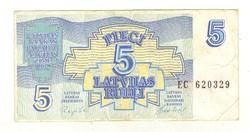 5 rubel rubli 1992 Lettország 4.
