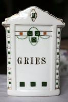 Antik szecessziós fajansz fűszertartó, konyhai tároló Gries felirattal RITKA
