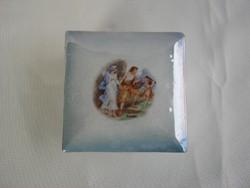 Drasche porcelán jelenetes ékszertartó doboz