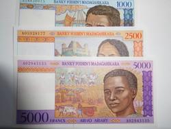 Madagaszkár 1000- 2500-5000 ariary 1995 UNC Nagyon Ritka!
