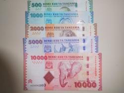 Tanzánia 500-1000-2000-5000-10000 shilling 2010 UNC