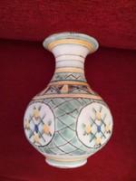 Gorka Géza zöld / sárga, szőgletes hasú váza