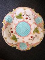 Wonderful, strawberry-patterned, legged, openwork antique faience fruit bowl