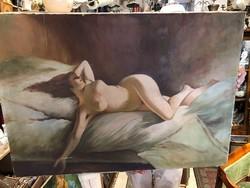 Régi akt festmény, olaj, vászon, 100 x 70 cm-es, gyűjtőknek.