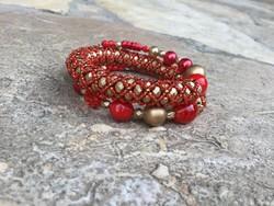 Piros arany színű dupla soros memória gyöngy női karkötő