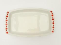 Alföldi Centrum Varia tálca - retro porcelán szögletes tálaló, nagytál koronavírus, napocska minta