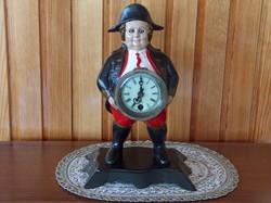Antik vas óra, festett, Napoleon hasán szemmozgásos óra, hibátlanul működik
