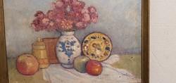 Csendélet, feloldatlan szignóval, olaj, vászon, 30 x 40 cm-es.