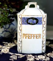 Porcelán fűszertartó, Pfeffer felirat