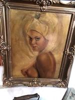 Női portré a múlt század végéről, 33 x 34 cm, olaj, vászon