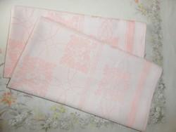 Antik, régi rózsaszín damaszt terítő, asztalkendő ( 2 db.)