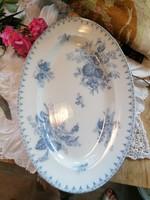 Fajansz, antik, Sarreguemines Flore, kék-fehér virágos pecsenyéstál
