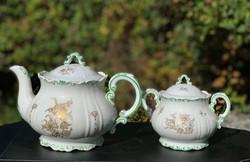 Zsolnay teás-kávés készlet pajzs pecsétes 20-30 as évek