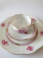 Herendi Apponyi pur-pur mintás kávés csésze aljjal és süteményes tányérral