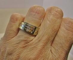 Különleges dupla, forgatható 0,42ct brillköves arany karika gyűrű 11g