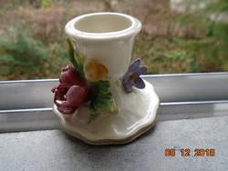 19 sz Carl Thieme Potschappel plasztikus virágokkal kis gyertyatartó Dresden jelzéssel