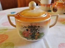 Antik Drasche porcelán jelenetes  cukortartó