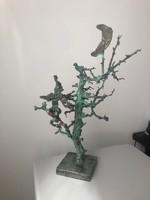 Tóth Ernő - mesefa kobolddal bronz szobor 40x25cm