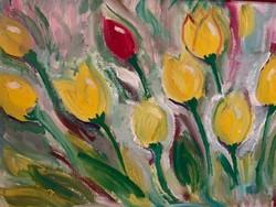 Sárga tulipános festmény