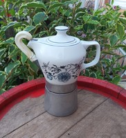 Hollóházi virágos,hagymamintás kotyogós porcelán kávéfőző, nosztalgia darab, paraszti dekoráció
