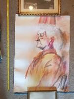 Nagy akvarell festmény, portré, méret jelezve!