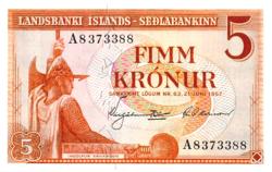 Izland 5 Korona 1957 UNC