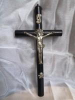 Antik, kis méretű feszület pléh Krisztussal