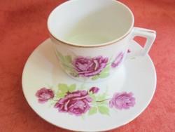 Zsolnay porcelán rózsás teás csésze+alj