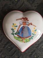 Csodálatos Drasche szív ékszertartó / bonbonier a legkorábbi időszakból, 1913-1936