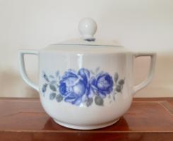 Régi Drasche porcelán cukortartó kék rózsás