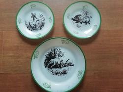 Retro állat mintás üveg tányérok,3db