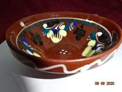 Német kerámia fali tányér, sárga virágos, átmérője 10,5 cm.
