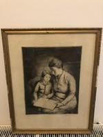 Szép grafika anya gyermekével !