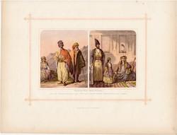 Kurdok és perzsák, litográfia 1882, eredeti, kaukázusi faj, népfaj, kaukázusi faj, Ararát, Teherán