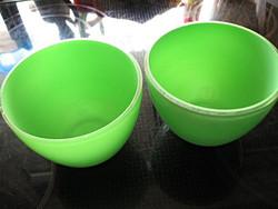 Réteges zöld és átlátszó üveg kaspó, tálka párban
