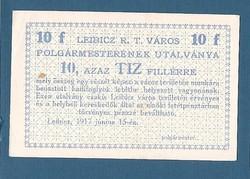 10 Fillér Leibicz ( LEI - 3a) aUNC- UNC  Aláírás nélkül