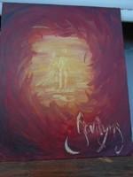 Absztrakt  híres OLASZ festő remekműve szerelem látomás   61 x 50 cm