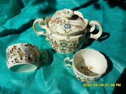 Antik Zsolnay porcelánfajansz cukortartó 2 csészével