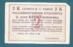 2 Korona Leibicz ( LEI -6a)    Aláírás nélkül