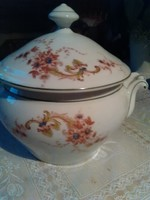 Antik  gyönyörű virágmintás koma tál, leveses tál, vastag porcelán fedővel, 2 fogantyúval.