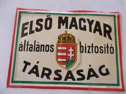 Elsö Magyar Biztositó Társaság-fém tábla,13x17 cm