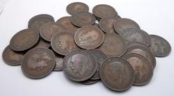 Angol V György 1 penny pénz pénzérme 35 db régi