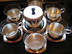 WMF metszett teás, bólés üveg pohár készlet  fém tartóban, alátétekkel, cukrossal