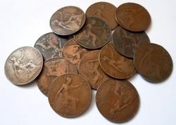 Angol VII Edward 1 penny pénz pénzérme 14 db régi