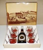 Régi Cézár konyak és pohár szett eredeti dobozában 1970 -es évek