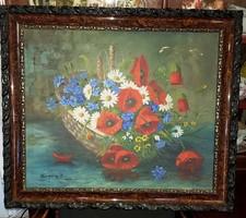 Jelzett magyar olajfestmény, szép kerettel együtt 50x60 cm